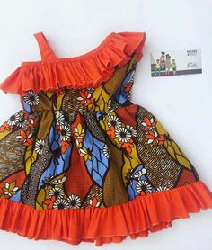 Half off-shoulder orange and African print dress for girls and toddlers – African Fashion Dresses - 2019 Trends Baby African Clothes, African Dresses For Kids, Latest African Fashion Dresses, African Print Dresses, Little Girl Dresses, Ankara Styles For Kids, Baby Dresses, Toddler Girl Dresses, Kids Dress Wear