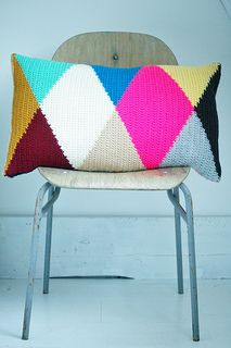 brandnew year - brandnew harlequin pillow - wood & wool stool