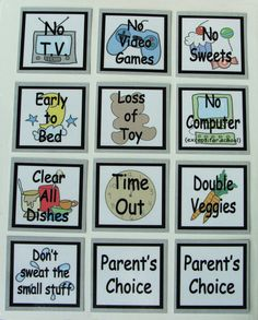 Consequence Cards for kids by SallySuesShop on Etsy, $9.50