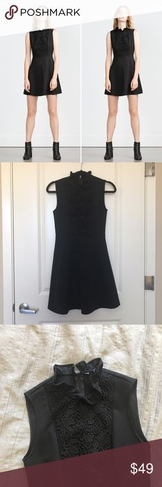 ZARA Lace Combined Skater Dress A beautiful LBD with a lace insert in XS. Great condition, worn only once for an event. 100% polyester. Zara Dresses Mini