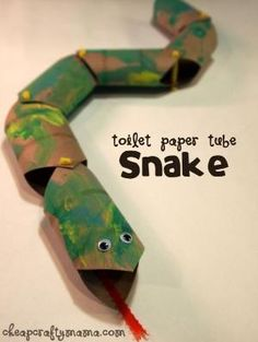 """""""S"""" is for Snake: fun toilet-paper-tube snake craft! Cardboard Playhouse, Cardboard Toys, Snake Crafts, Toilet Paper Art, Cardboard Fireplace, Year Of The Snake, Shop Work Bench, Paper Towel Rolls, Tree Crafts"""