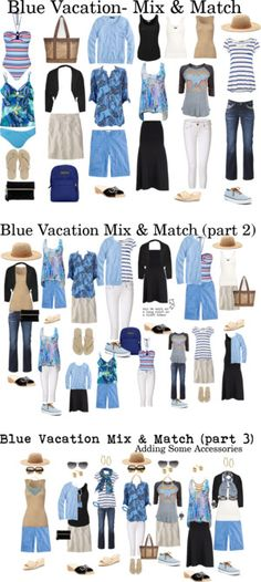 """""""Blue Vacation"""" by susanmcu on Polyvore ( Blue Black White Beige Capsule Summer Vacation Wardrobe )"""