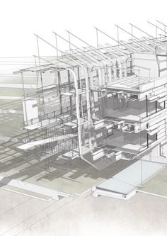 Seed Generator Project - Constructional Cross Section Through the Elevated Structure and Testing Landscape by Kyle Chong