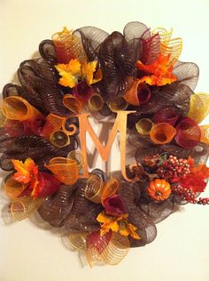I love the Fall colors but $75 seems a bit pricey for this one! fall-monogram-mesh-wreath