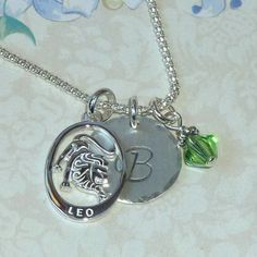 Personalized Leo the Lion Initial Charm Necklace by #DolphinMoonCreations #leojewelry #zodiacnecklace