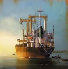 Nautical Painting, Nautical Art, Ship Paintings, Seascape Paintings, Ocean At Night, Abandoned Ships, Ship Drawing, Merchant Navy, Boat Art