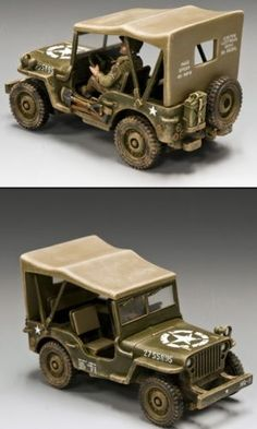 World War II U.S.Infantry Divisions DD180 U.S. Universal Jeep - Made by King and Country Military Miniatures and Models. Factory made, hand assembled, painted and boxed in a padded decorative box. Excellent gift for the enthusiast.