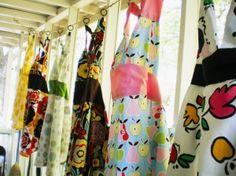 Hanging aprons...