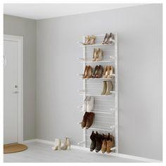 Open Wardrobe Systems - Open Storage Systems - Floor to Ceiling Storage - IKEA Ikea Algot, Ikea Elvarli, Ikea Wall, Wall Mounted Shoe Storage, Clothes Storage Systems, Shoe Organiser, Wardrobe Systems, Open Wardrobe, Capsule Wardrobe