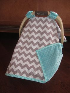 Super Cute Baby Car Seat Covers - CHEVRON in Gray / White with Teal Minky on Etsy, $49.50