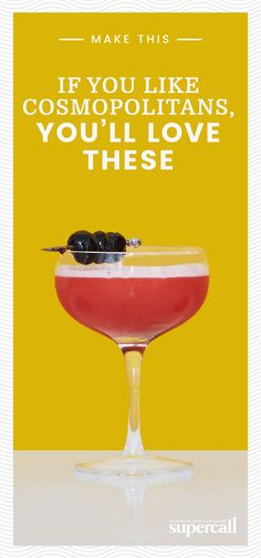 If you call the Cosmo your favorite drink, you've earned not only our respect but our support. We've gathered a variety of Cosmo-esque drinks for your citrusy, cranberry-forward pleasure. Be proud, and drink on. #cosmopolitans #cocktails #cocktailrecipe