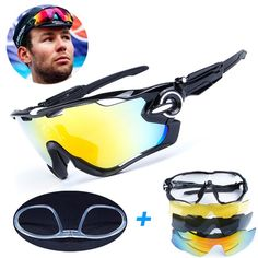 7bcdeb77ac 4 Lens Brand New Jaw Outdoor Sports Cycling Sunglasses Eyewear Men Women Bike  Bicycle Breaker Cycling Glasses Goggles