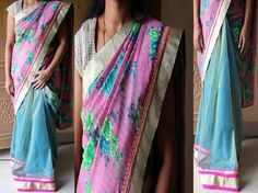 Code: RS019 --- Half and half saree with floral print material for outer half and sky blue shimmer banaras net fabric for pleats finished in thread work pink and gold borders . --- Blouse: Gold semi raw silk --- Price: INR 2360 --- Please mail us at ramanisarees@gmail.com