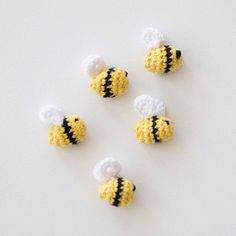 Buzz! Make these tiny crochet bees to add to your spring wreath.