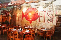 New Orleans, LA - Red Fish Grill. We ate the best cheese grits and shrimp here on our trip! Wonderful fried oysters also! Seafood Gumbo, Seafood Restaurant, Seafood Place, Fresh Seafood, Bbq Oysters, Red Fish Grill, French Quarter Restaurants, Buffalo Shrimp, Funky Decor