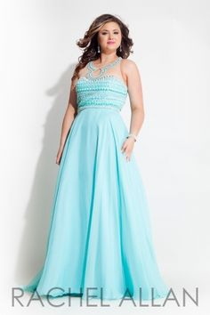 Chiffon A-line gown with sheer neckline and open back. Call 1-815-782-8877 to order or online at http://www.everythingformals.com