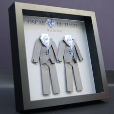 Personalized Gay Same Sex LGBT Wedding Gift, Engagement, First Anniversary Paper Origami Groom & Groom Shadowbox Frame Custom Art Gift by paintandpapercraft on Etsy