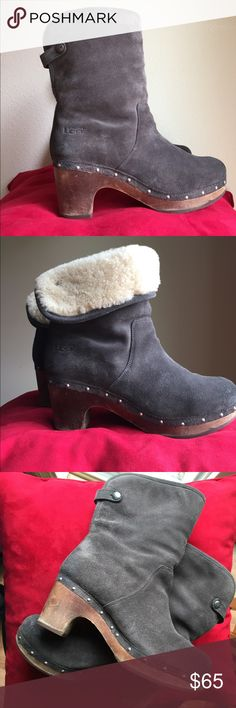 UGG Ankle Boots Charcoal suede UGG Australia Lynnea round-toe ankle boots with silver tone stud embellishment. Embossed logo accent, wooden block heel. Size 7 women shoe (EU 38). EXCELLENT USED, like new condition! (See pictures) UGG Shoes Ankle Boots & Booties