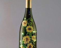 Christmas lights hand painted wine bottle lamp by VauVicStudio