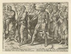 Philips Galle | Beroemde en beruchte rijkaards, Philips Galle, Hadrianus Junius, 1563 | Een optocht van beroemde voorbeelden van rijkaards uit de Oudheid. Voorop in de stoet Pythius, met in zijn hand een van goed en edelstenen gemaakte wijnrank. Vervolgens Lucullus, de rijke Romeinse magistraat en veelvraat. Hij draagt een vaandel met een kippenpastei. Achter hem Crassus, die uit een beker drinkt. Dit is een allusie op zijn dorst naar geld en zijn dood (gestikt in gesmolten goud). Na Crassus…