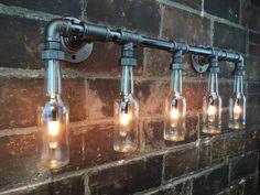 Industrial Vanity Light Bottle Chandelier by newwineoldbottles