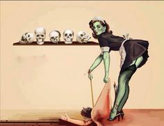Sweeping murder under the rug? By a zombie or a ghoul? Very cute!