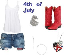 4th of July outfit, created by patriotlover on Polyvore I would switch the boots to converse but love the outfit