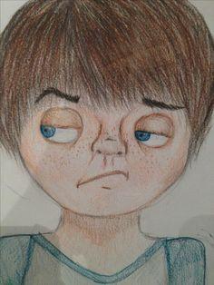 dit is nog de inzoom van he gezicht. ik probeerde de jongen realistisch maar toch cartoon te maken dus wel ronde ogen, kleine neus en onrealistische mond maar ook met sproeten, wallen, schaduw.