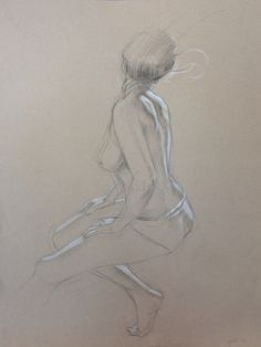 "Signed drawing of a female back, Graphite and white pencil on toned paper, 24""x18"" on Etsy, $395.00"