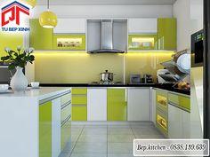 Thiết kế tủ bếp acrylic có bếp đảo màu xanh lá tươi sáng KC27