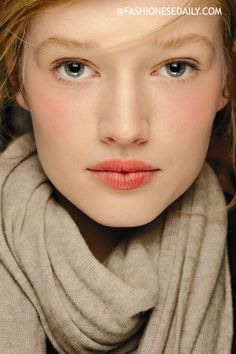Charlotte Tilbury - love the stained lip, peachy cheeks & bare eye.  Beautiful look for winter.