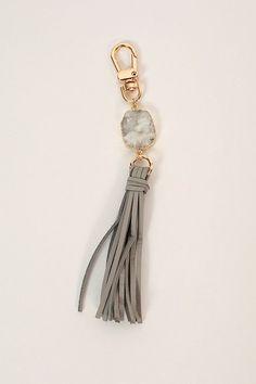 Isla Tassel Keychain in Grey