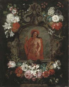 Daniël Seghers (1590–1661) —  Cartouche with a personification of America, surrounded by flowers; signed and dated 'JV Kessel, 1671   (512×648)