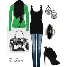 """""""!"""" by rachelann34 on Polyvore: Loving This! Any Shade of Green is my Favorite Color, so of course I love this Cardigan with Black Buttons & a Scarf! These Black Ankle Boot/High Heels with Ruffled Detailing are so Fierce!"""