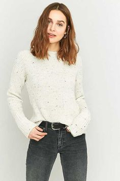 BDG Nep Ribbed Ivory Cuffed Sleeve Jumper