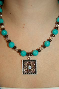 Light blue and dark brown necklace by crquiro on Etsy, $15.00