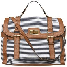 A|Wear Navy Stripe Satchel ($31) ❤ liked on Polyvore featuring bags, handbags, purses, accessories, bolsas, navy purse, satchel hand bags, canvas handbags, satchel purse and canvas satchel