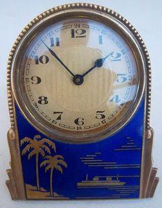 Art Deco enamel and brass, cruise ship travel clock, ca.1920s