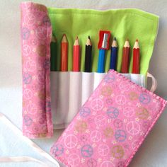 Free shipping, Back to School, Peace Printed Felt Drawing Set, Pencil Case,Drawing Book, Coloring Pencils, Notebook,Desk Office Organizer by FeltedFairyDreams on Etsy