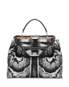 Peekaboo Large Calf Hair Satchel Bag, White/Black by Fendi