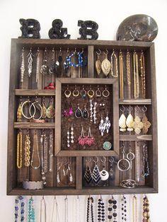 Shadowbox Jewelry Organizer by barbwireandbarnwood on Etsy