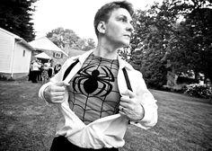 www.matthewblasseyweddings.com/blog Wedding Men, Wedding Engagement, Wedding Ideas, Comic Book Wedding, Spiderman, Batman Shirt, Bar Mitzvah, Photo Credit, Wedding Photos