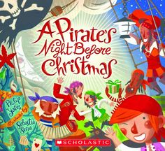 "A Pirate's Night Before Christmas, by Philip Yates; illustrated by Sebastia Serra (2008). ""Come aboard, young mateys, for a humorous, colorful, and thoroughly piratical retelling of ""The Night Before Christmas!"" On a ship of mischievous brigands who have visions of treasure chests, not sugar plums, dancing in their heads, you wouldn't expect a visit from jolly St. Nick."" (Website)"