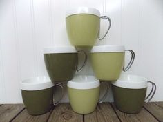 Mid Century Set Of 6 Thermo Mugs Cups w/Wire Handle Eames Era Atomic Age #Thermo