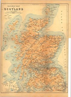 1897 Antique Railway Map of Scotland Baedeker by CarambasVintage Vintage Maps, Antique Maps, Vintage Travel Posters, Scotland Tourism, Scotland Map, Map Of Britain, Fort William, Reverse Image Search, Scottish Castles
