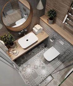 Wooden worktops give the bathroom a charming bathroom and warm the bathroom.- Holzarbeitsplatten verleihen dem Badezimmer ein charmantes Bad und wärmen das D… Wooden worktops give the bathroom a … - Modern Bathroom Tile, Bathroom Design Small, Bathroom Interior Design, Bathroom Flooring, Tiled Bathrooms, Serene Bathroom, Wooden Tile Bathroom, Patterned Tile Bathroom Floor, Wall Tiles