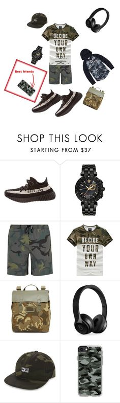 """Men's camo outfit"" by miaguenov ❤ liked on Polyvore featuring Yeezy by Kanye West, Versace, The Upside, The Cambridge Satchel Company, Beats by Dr. Dre, OBEY Clothing, Casetify, Hollister Co., men's fashion and menswear"