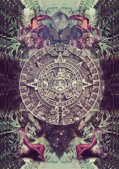mayan calendar / Sacred Geometry so cool Psychedelic Art, Digital Art Illustration, Aztec Art, Psy Art, Mexican Art, Visionary Art, Flower Of Life, Sacred Art, Sacred Geometry
