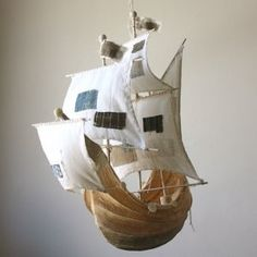 $560.00  The Weaver Girl's hull is translucent paper mache over a wire armature, she  has sails made from the cotton underskirt of a vintage wedding gown and patched with  beautiful bits and  scraps more gorgeous DIY ideas for boys room decorations
