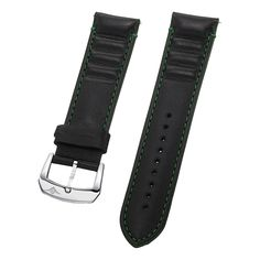 Stuhrling Original men's 23mm black leather Strap with green stitching green outline with quick change pins steel buckle st.4ATC.332P171 >>> Find out more about the great watch at the image link.